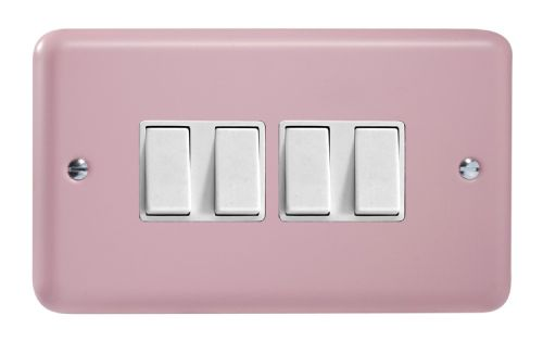 Varilight XY9W.RP Lily Pastel Rose Pink 4 Gang 10A 1 or 2 Way Rocker Light Switch